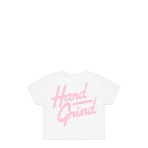 Italic White Crop T-Shirt | Hard Grind