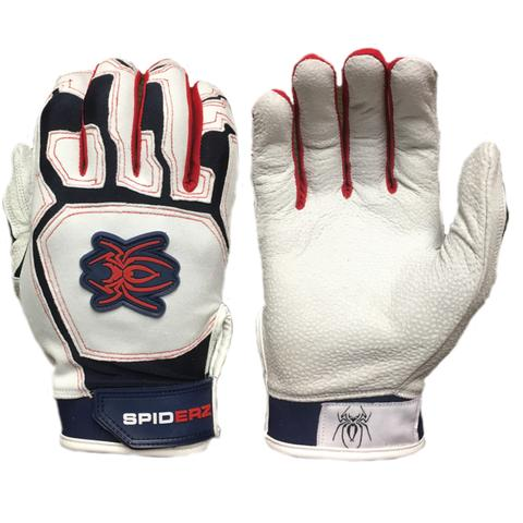 SPIDERZ PRO BATTING GLOVES - Red/White/Blue