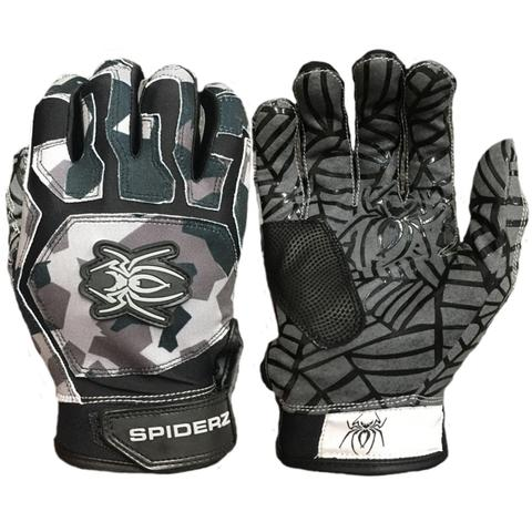 SPIDERZ WEB BATTING GLOVES - Splinter Camo Black/Charcoal/Grey