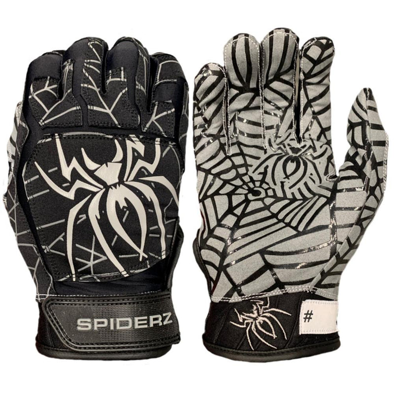 SPIDERZ WEB BATTING GLOVES - Black/Silver