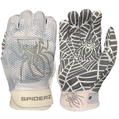 SPIDERZ WEB BATTING GLOVES - White/Silver