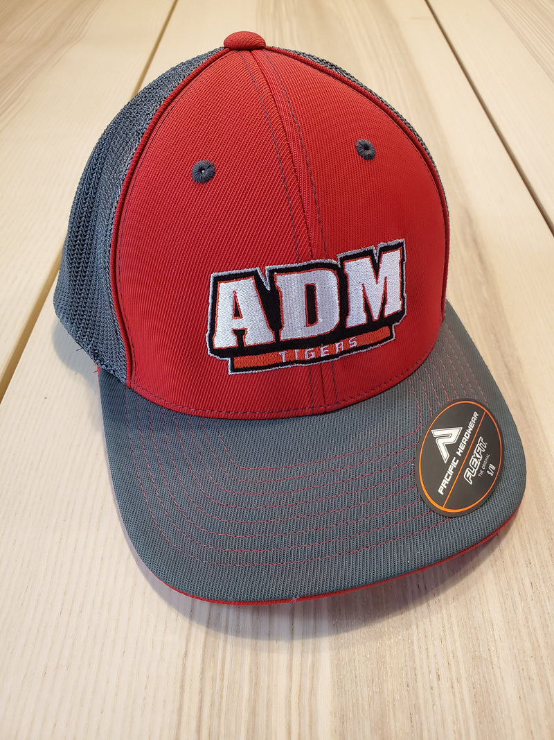 ADM Tigers Flexfit Mesh - Red/Gray w/ADM Arched logo