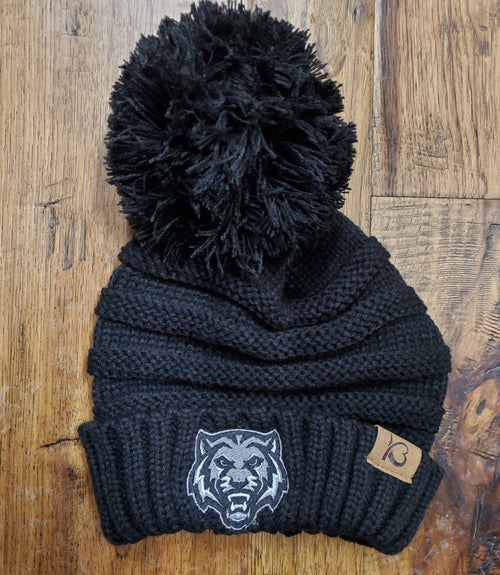 Tigers Pom Cable Knit Ribbed Beanie