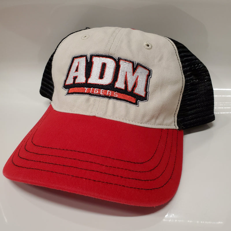 ADM Patch Trucker Snapback - Khaki/Red/Black