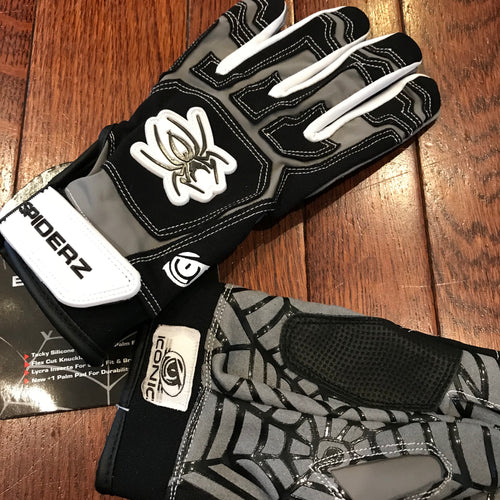 Spiderz Batting Gloves - ICONIC WEB Batting Gloves - Black/Grey/White