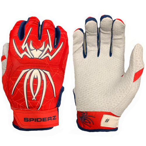 SPIDERZ ENDITE BATTING GLOVES - RED/WHITE/NAVY BLUE 2020