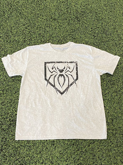Spiderz Home Plate Premium Tee - Light Grey/Black