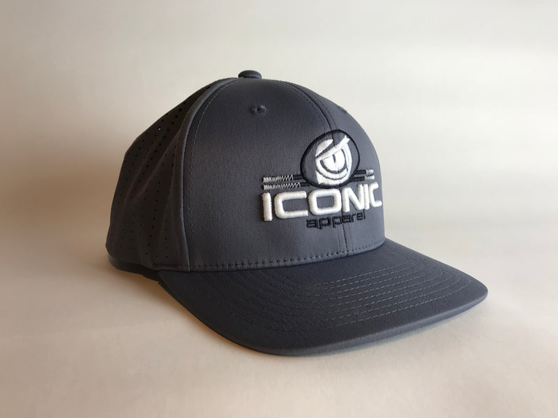 Iconic Perforated Performance Hat -Graphite/White/Black