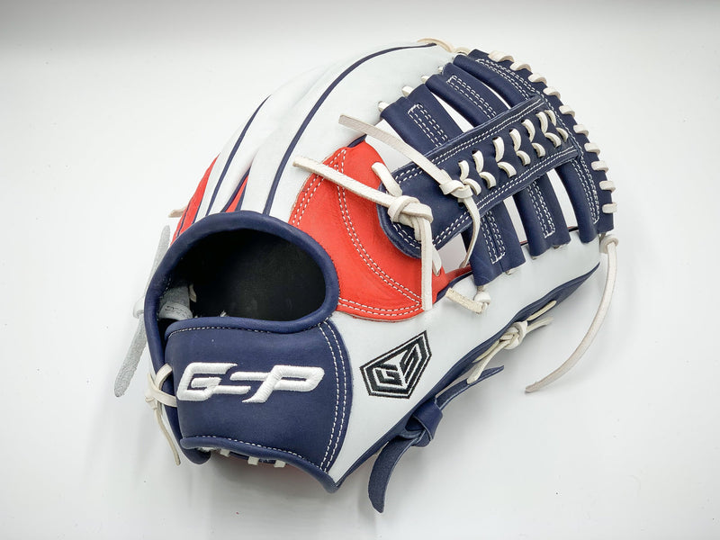 "GS Sports Signature Series 13"" Dual Post Ball Glove - White / Blue / Red Snakeskin"