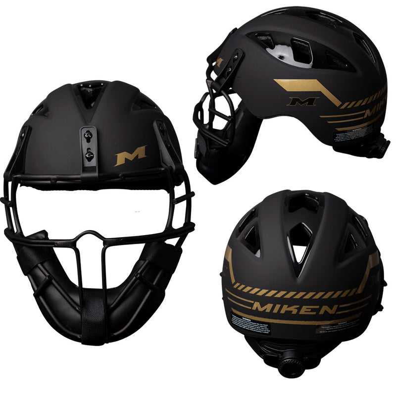 Miken Limited Edition Black/Gold Slowpitch Softball Pitchers Helmet Mask – MGLDPH