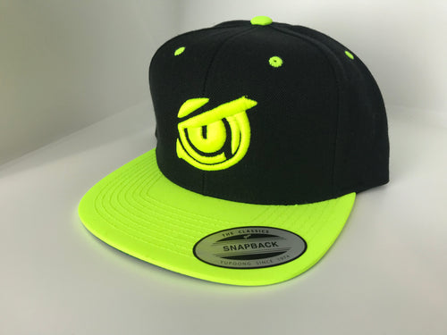Iconic SnapBack Flat Bill - Owl Eye - Black/Neon Yellow