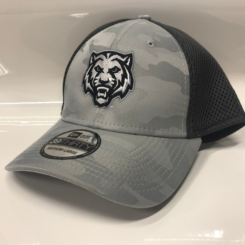 ADM Tigers Hat Flexfit Mesh back- Camo/Gray w/Tiger Face logo