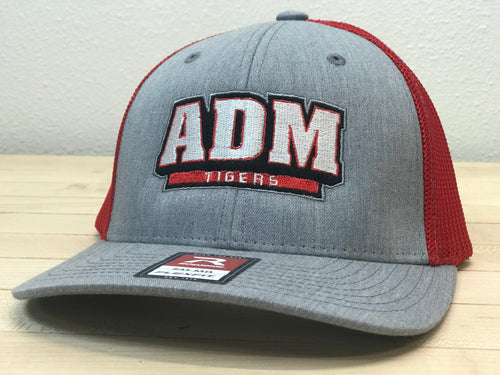 ADM Tigers Flexfit Mesh - Heather Gray/Red w/ADM Arched logo
