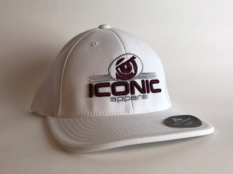 Iconic Hat- White/Maroon