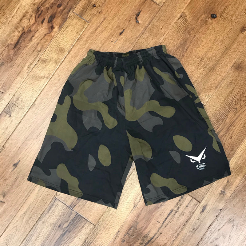 """GAMER"" Performance Flex Camo Shorts"