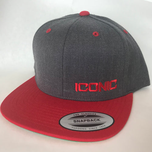 Iconic SnapBack - Dark Heather/Red