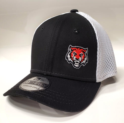 ADM Tigers Hat Flexfit Mesh back- Black/White w/Micro Tiger Face logo