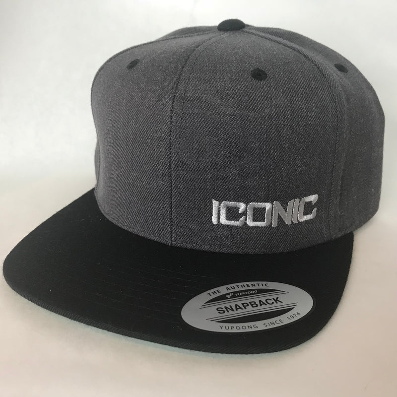 Iconic SnapBack- Dark Heather/Black/Silver