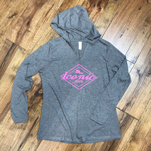 Iconic Women's  Long Sleeve Hooded Tee