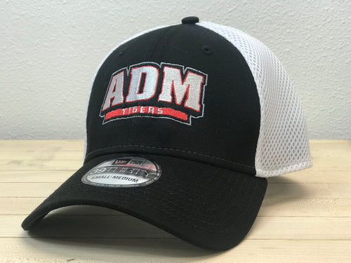 ADM Tigers Hat Flexfit Mesh back- Black/White w/Arched ADM logo