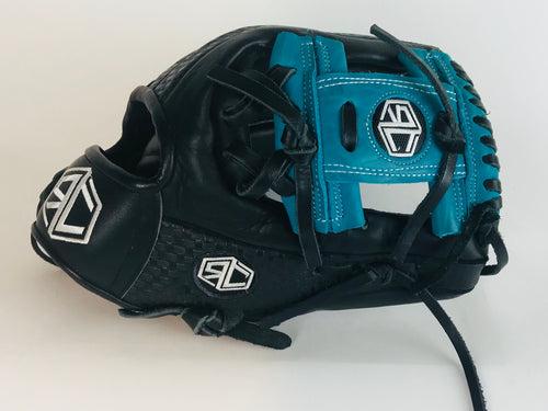 "RC Fielding Glove - 12"" Black/Teal - Embossed"