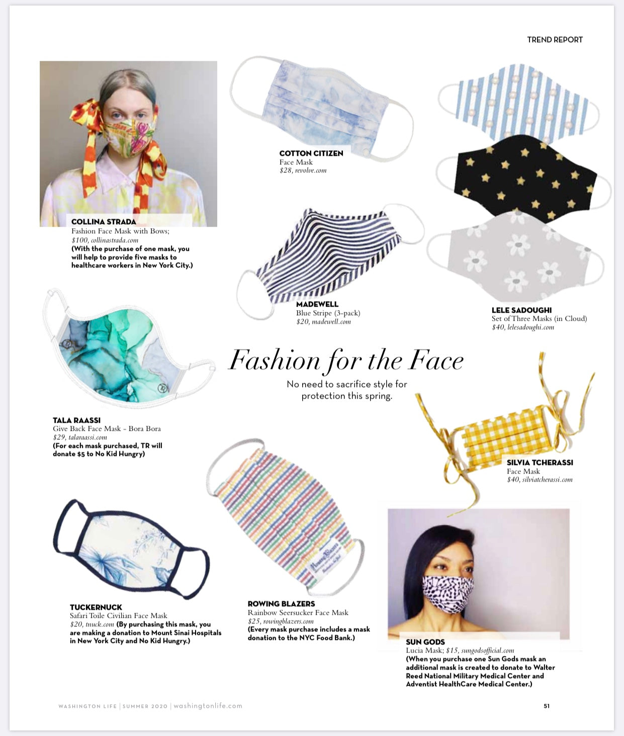 Washington Life Magazine Highlights SG Face Masks!