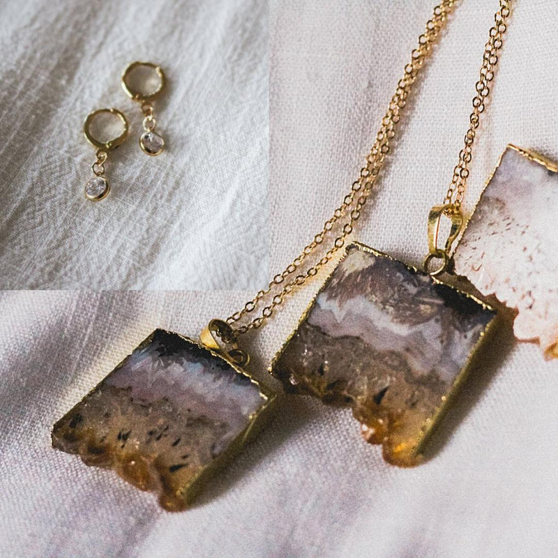 Citrine Crystal Goddess Necklace Set