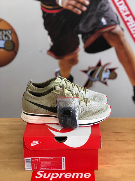 New Nike flynit trainer Olive/Red Size 10