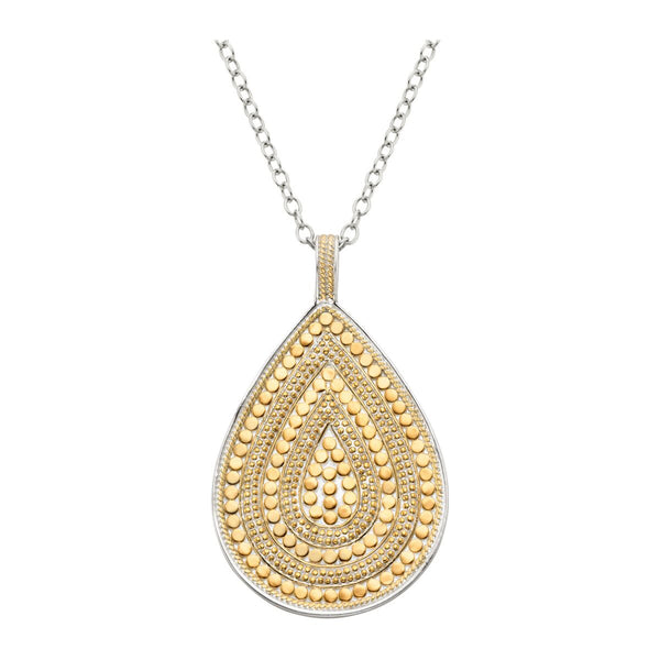 Beaded Teardrop Pendant necklace 30""