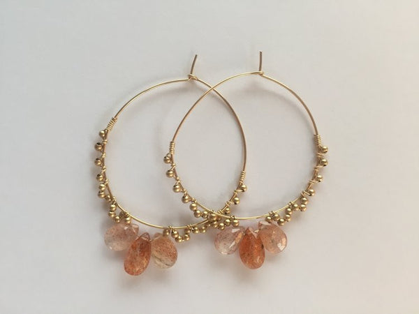 Angelica three stone sunstone matte 14k gold bead oversize hoop earrings Handcrafted in Japan