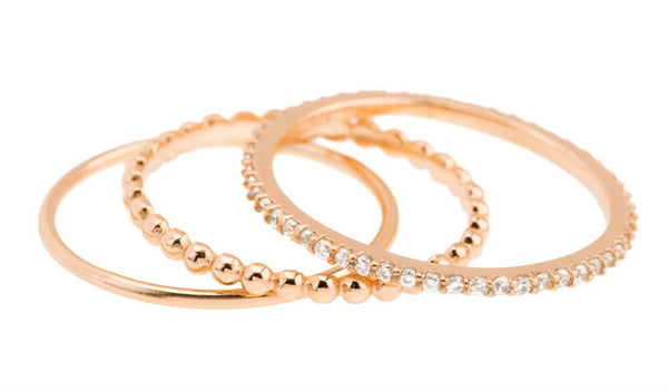 Rose gold pave and textured set of three stackable rings