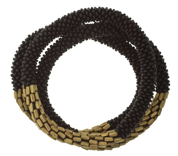 Aid Through Trade roll-on glass bead bracelet in black with gold beads. Handmade in Nepal