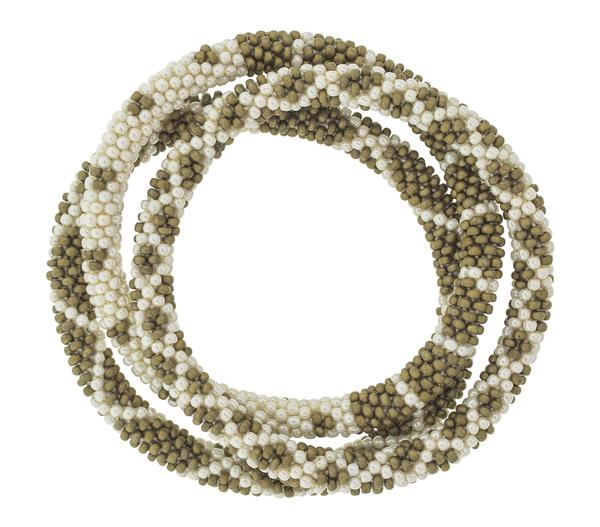 Aid Through Trade roll-on glass bead bracelet in khaki and cream. Handmade in Nepal.