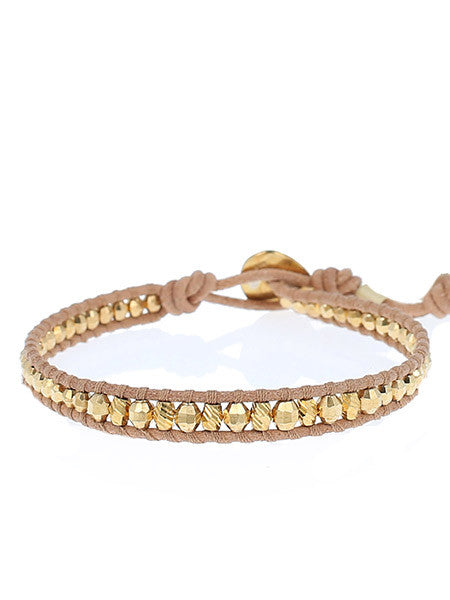 Yellow Gold Single Wrap Bracelet On Beige Leather