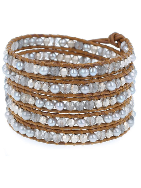 Grey Pearl Mix Wrap Bracelet
