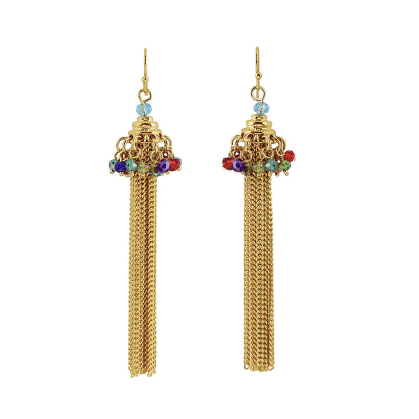 Glass bead and gold tassel statement earrings