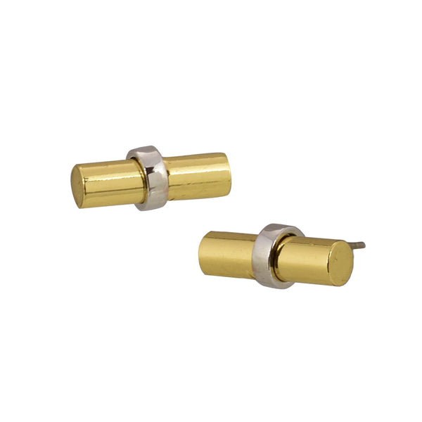 Rebecca 3mm gold plated brass stud earring with silver bar