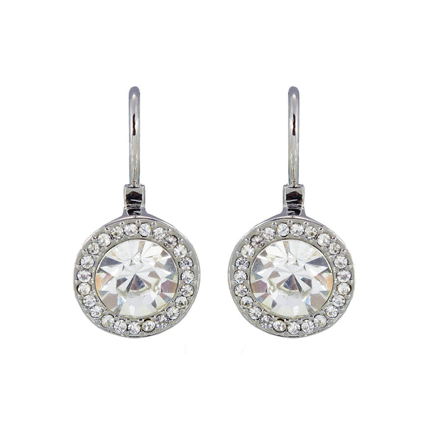 Lever back glass stone earring - rhodium