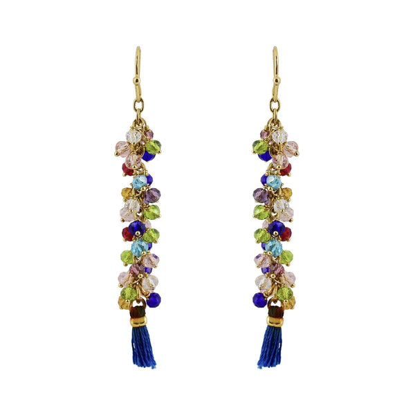 Tabitha glass bead and tassle earring