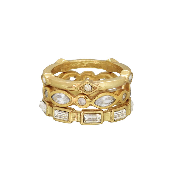 Rachel set of three stackable rings - 3mm gold plated brass with glass stones