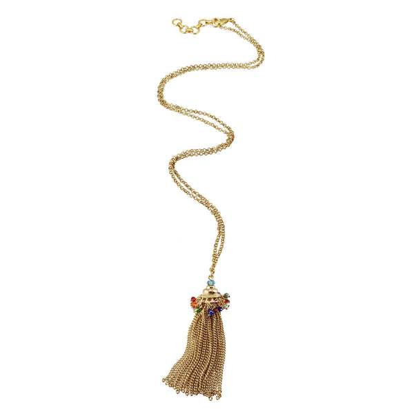Glass bead and gold tassle statement pendant
