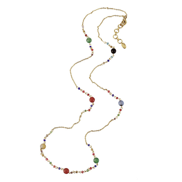 Anna semi-precious and glass bead station necklace