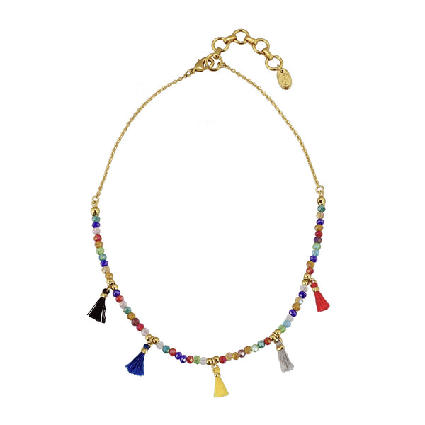 Telulah glass bead and delicate tassle choker