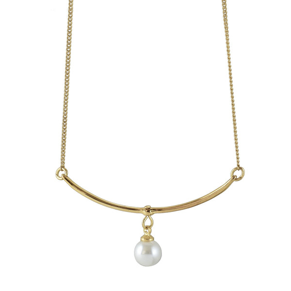 Pamela delicate bar with pearl charm choker