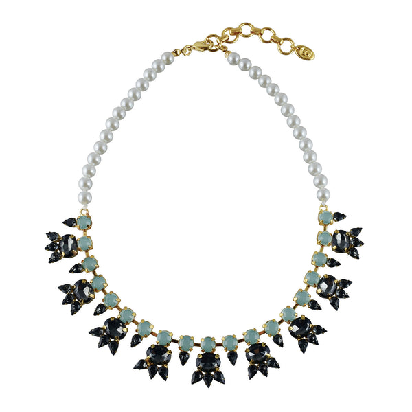 Statement necklace glass pearl, black diamond and light jade crystals