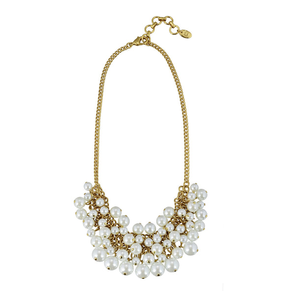Sarah glass pearl statement bib necklace