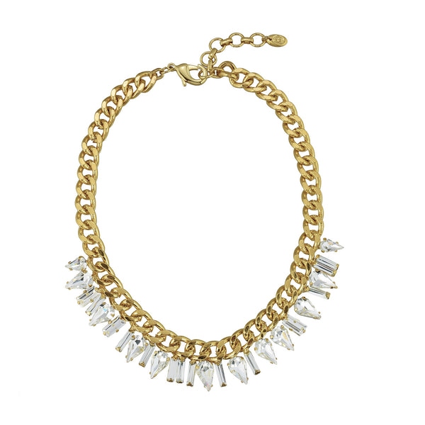 Melanie statement crystal and chain necklace