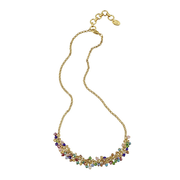 "Multi color glass bead cluster choker 14"" with 2"" extender"