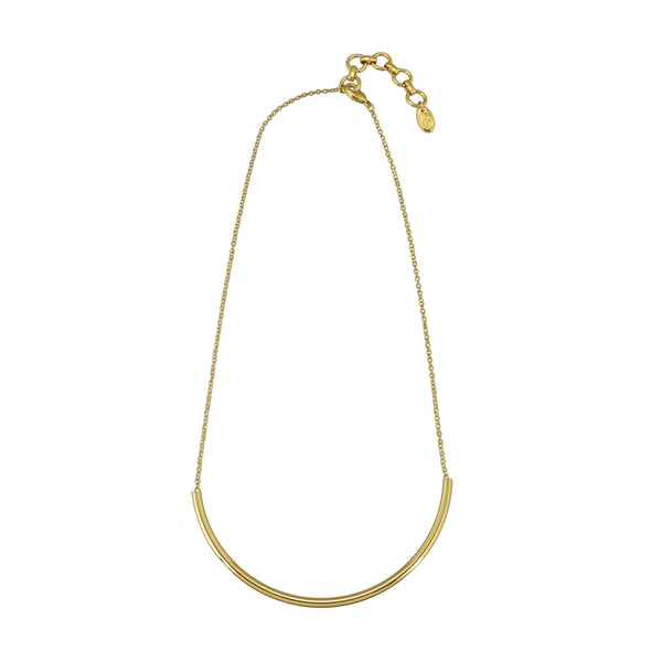 gold round delicate bar necklace