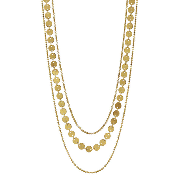 Taylor triple strand gold necklace 16-20""